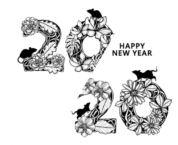 Happy new year 2020 flower drawing and sketch black and white isolated