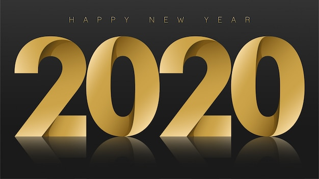 Happy new year 2020, gold on black