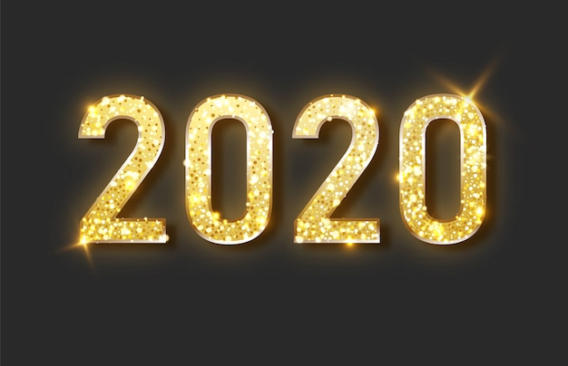 Happy new year 2020. gold festive numbers design.