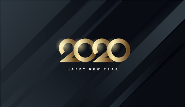 Happy new year 2020, gold numbers black background