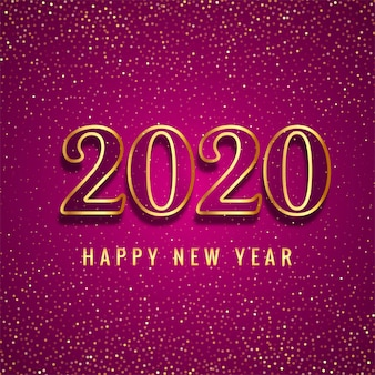 Happy new year 2020 gold text for glitters card