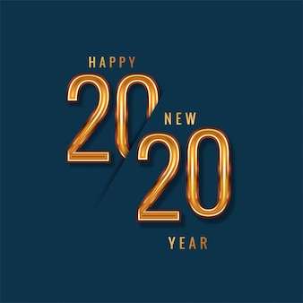 Happy new year 2020 gold text  vector
