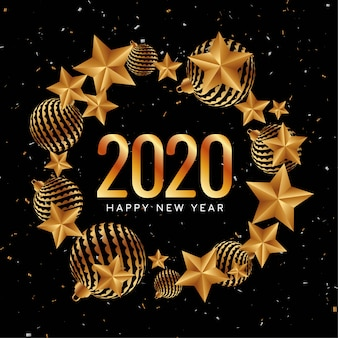 Happy new year 2020 golden decorative
