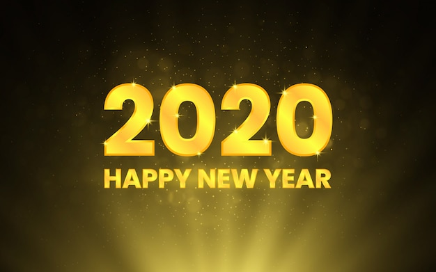 Happy new year 2020. golden numbers on black