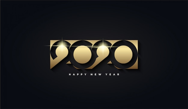 Happy new year 2020, golden rectangle with the number 2020 background