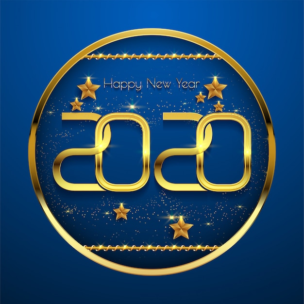 Happy new year 2020 golden text on blue background