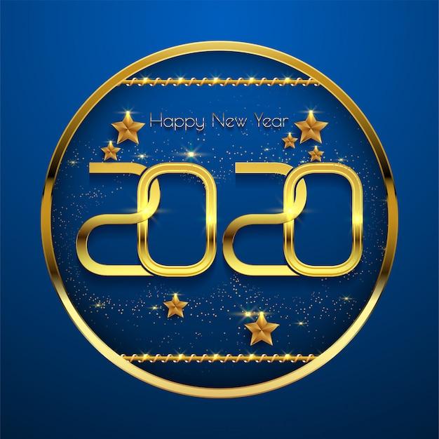 青の背景に新年あけましておめでとうございます2020ゴールデンテキスト