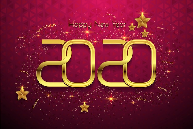Happy new year 2020 golden text on red background