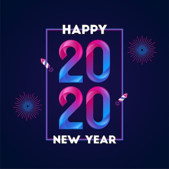 Happy new year 2020 gradient style background