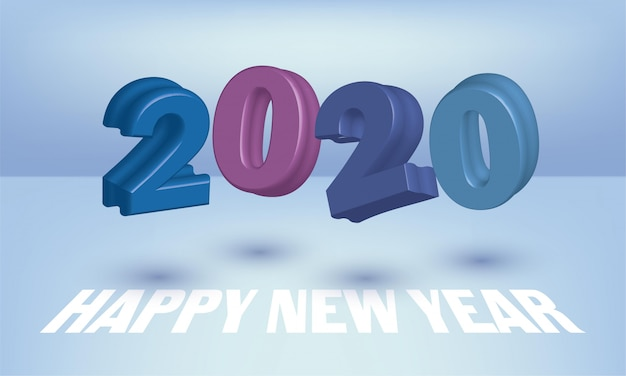 Happy new year 2020 greeting card design with 3d numbers flying