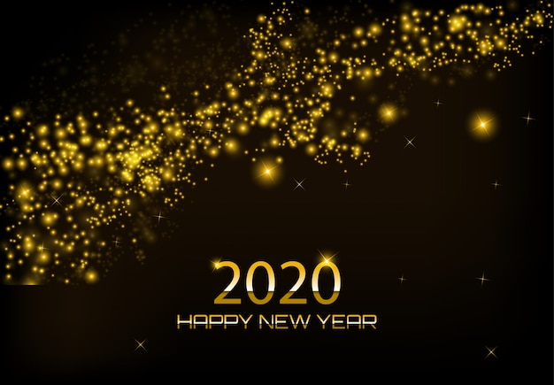 Happy new year 2020 greeting card design with glowing glittering golden lights curtain