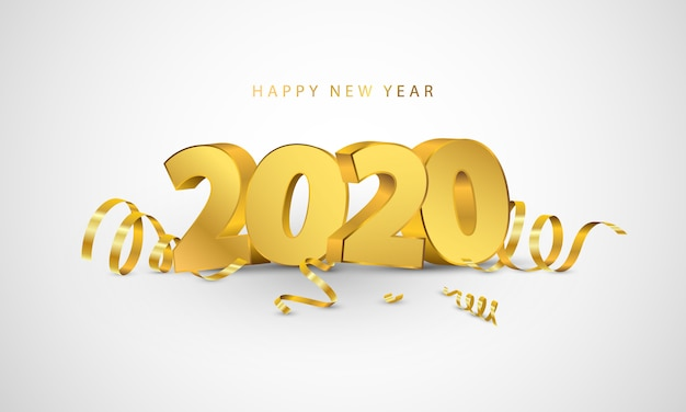 Happy new year 2020. greeting card design with gold confetti.