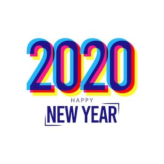 Happy new year 2020 greeting card on glitch effect
