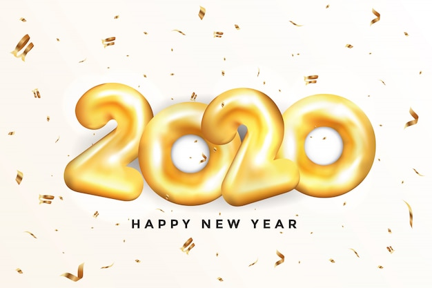 Happy new year 2020 greeting card - golden balloons