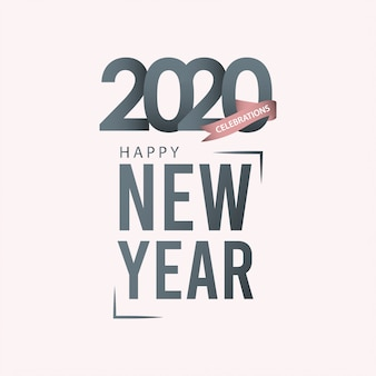 Happy new year 2020 greeting card on grayscale
