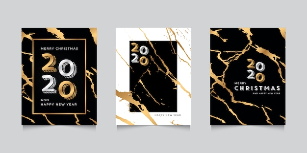 Happy new year 2020 greeting card template with gold marble texture