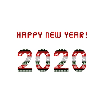 Happy new year 2020 greeting card with christmas pattern