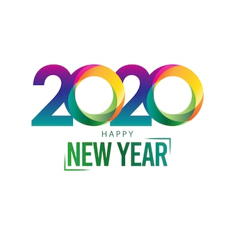 Happy new year 2020 greeting card with colorful modern design