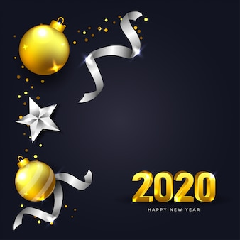 Happy new year 2020 greeting card with dark  and realistic christmas decoration in gold and silver color