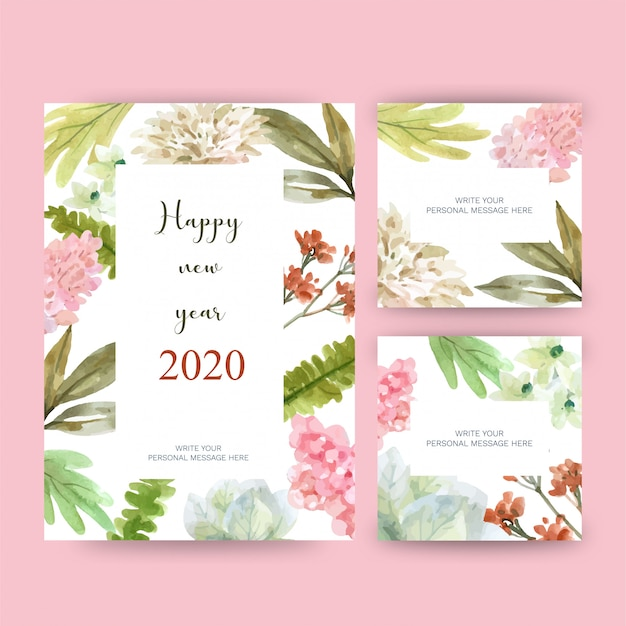 Happy new year 2020 greeting card with floral theme