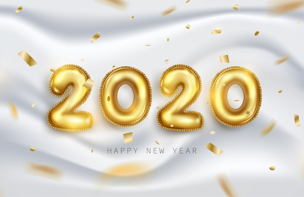 Happy new year 2020 greeting card with golden metallic foil numbers