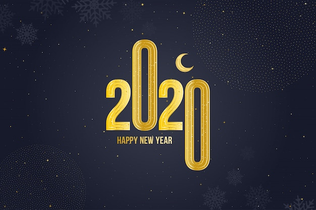 Happy new year 2020 greeting card with golden sign and moon
