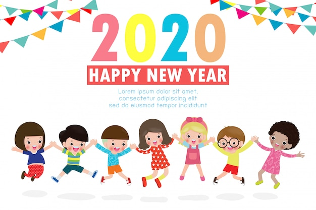 Happy new year 2020 greeting card with group kids jumping