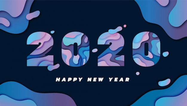 Happy new year 2020 greeting card with papercut style