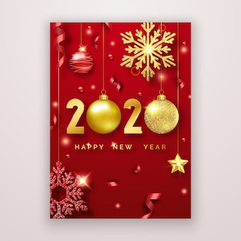 Happy new year 2020 greeting card with shining numerals, stars, balls and ribbons.