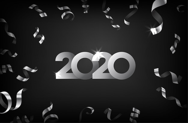 Happy new year 2020 greeting card with silver falling confetti
