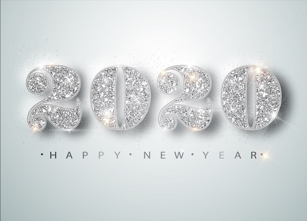 Happy new year 2020 greeting card with silver numbers and confetti frame on white . merry christmas flyer or poster