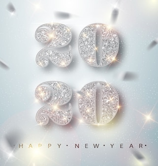 Happy new year 2020 greeting card with silver numbers and confetti