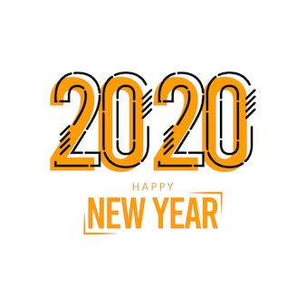 Happy new year 2020 greeting card on yellow with lines