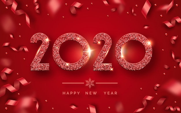 Happy new year 2020 greeting card