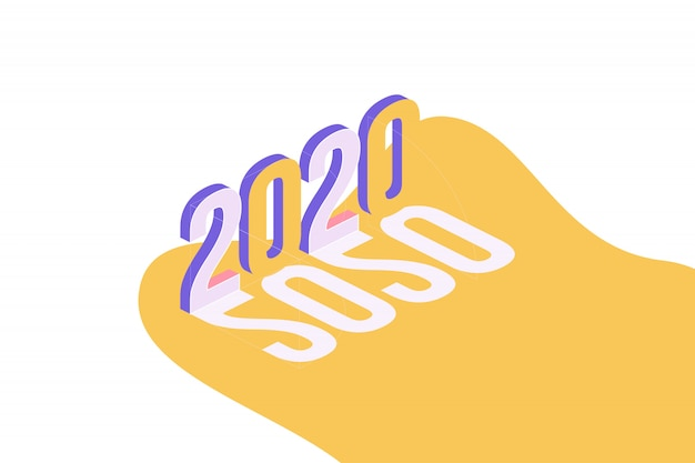 Happy new year 2020. greeting inscription in isometric style.