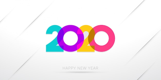 Happy new year 2020 greeting template minimal on white