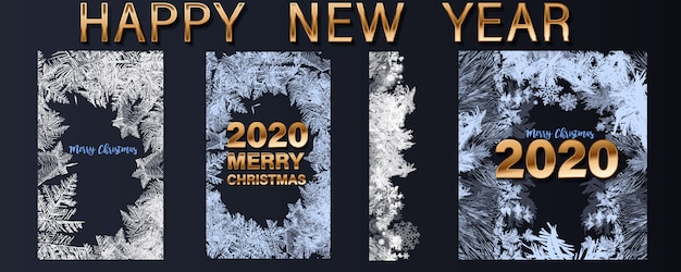 Happy new year 2020 greetings and merry christmas set of greeting cards