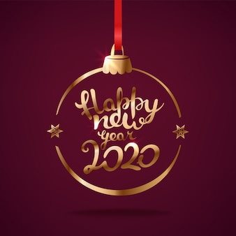 Happy new year 2020 greetings  with lettering inscription