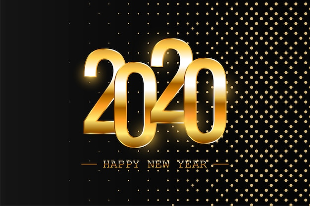 Happy new year 2020 holiday vector illustration. shiny composition with sparkles. eps10