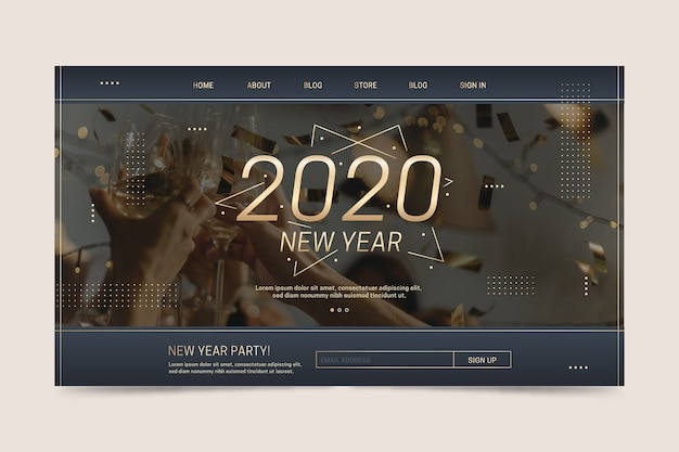 Happy new year 2020 landing page template