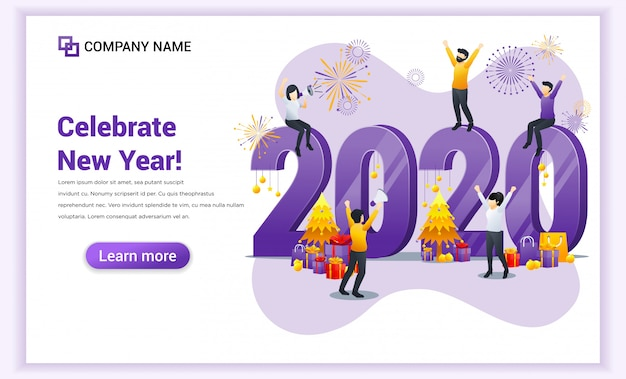 Happy new year 2020 landing page
