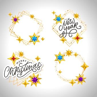 明けましておめでとうございます2020。星と輝きのレタリング構成。休日イラストフレーム