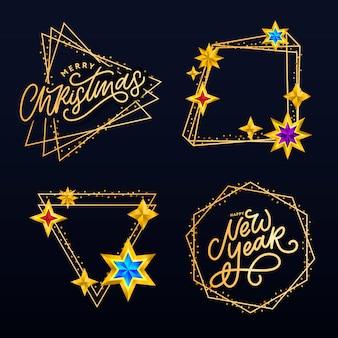 С новым 2020 годом. надпись композиция со звездами и блестками. рамка для праздничной иллюстрации