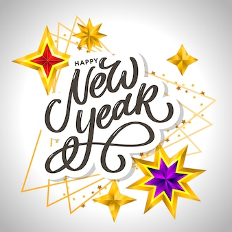 Happy new year 2020. lettering composition with stars and sparkles. holiday  illustration frame