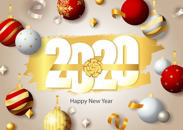 Happy new year, 2020 lettering and festive baubles