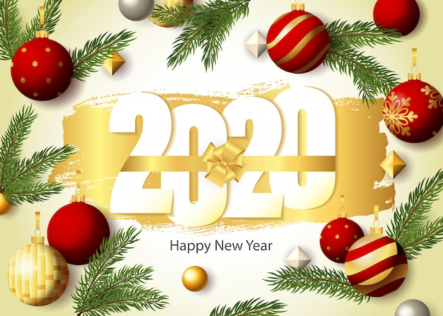 Happy new year, 2020 lettering, fir-tree twigs and baubles
