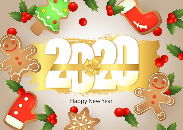 Happy new year, 2020 lettering, gingerbread cookies, mistletoe