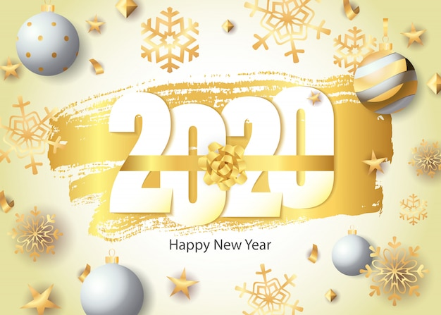 Happy new year, 2020 lettering, golden snowflakes and balls