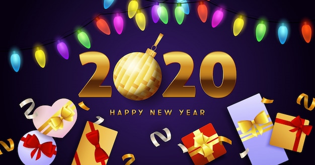 Happy new year 2020 lettering, lights garlands and gift boxes