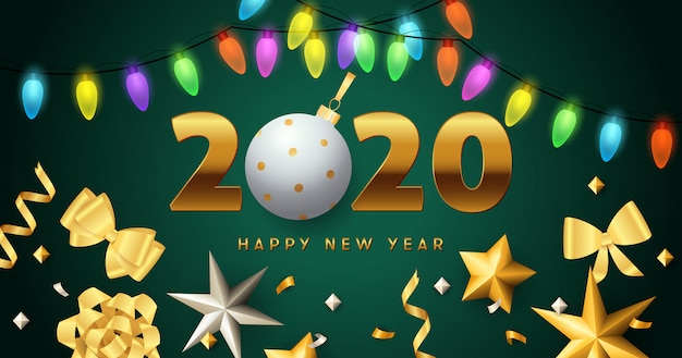 Happy new year 2020 lettering, lights garlands, golden bows